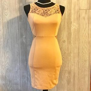 Forever 21 tan dress with lace cutout form fitting